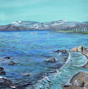 Edge Paintings - Lake Tahoe from Kings Beach California by Charles and Stacey Matthews