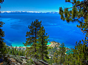 Picture Lake Posters - Lake Tahoe Sand Harbor State Park from Flume Trail Poster by Scott McGuire