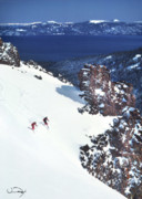 Lake Prints - Lake Tahoe Skiing Print by Vance Fox