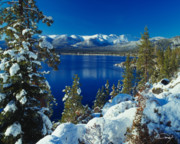 Winter Tapestries Textiles Framed Prints - Lake Tahoe Winter Framed Print by Vance Fox
