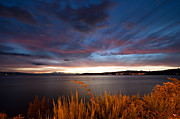 Storm Clouds; Sunset; Twilight; Water Framed Prints - Lake Taupo Sunset Framed Print by Marc Garrido