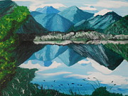 Bush Wildlife Paintings - Lake Te Anau by Katerina De Thierry