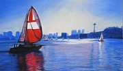 Sailing Pastels Framed Prints - Lake Union and the Red Sail Framed Print by Terri Thompson