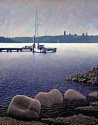 City Skylines Paintings - Lake View by Patrick Woods