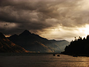 Sunset Paintings - Lake Wakatipu at sunset by Pixel Chimp