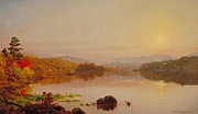 Setting Framed Prints - Lake Wawayanda Framed Print by Jasper Francis Cropsey