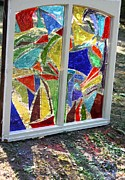 Glass Glass Art Originals - Lake Window by Pat Purdy