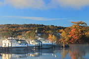 Autumn Foliage Prints - Lake Winnipesaukee Marina in Meredith Print by John Burk