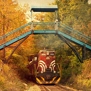Hobo Prints - Lake Winnipesaukee New Hampshire Railroad Train in Autumn Foliage Print by Stephanie McDowell