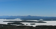 Winter Photos Photo Framed Prints - Lake Winnipesaukee view from Mt. Major Framed Print by Michael Mooney