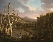 Hudson River School Painting Framed Prints - Lake with Dead Trees  Framed Print by Thomas Cole