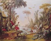 Bird On Tree Painting Prints - Lake with geese storks parrots and herons Print by Francois Boucher
