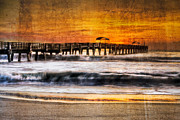 Surfing Art Print Posters - Lake Worth Pier Poster by Debra and Dave Vanderlaan