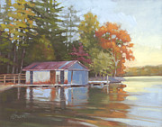 Lake Wylie Prints - Lake Wylie Boathouse Print by Todd Baxter