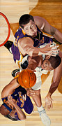 Basketball Paintings - Lakers by Douglas Fincham