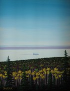 Great Lakes Ship Paintings - Lakeside autumn by Dan Shefchik