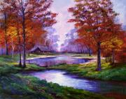 Fall Trees Posters - Lakeside Cabin Poster by David Lloyd Glover