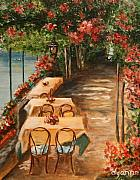 Outdoor Cafe Paintings - Lakeside Cafe by Dyanne Parker