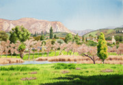 El Capitan Painting Prints - Lakeside California Print by Mary Helmreich