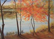 """fall Foliage"" Paintings - Lakeside Dancers IIII by Pete Maier"
