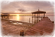 Sunset Greeting Cards Posters - Lakeside Poster by Debra and Dave Vanderlaan