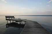 Ithaca Prints - Lakeside Dock With Bench At Dusk Print by Roberto Westbrook