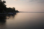 Ithaca Prints - Lakeside Dock With Boat At Dusk Print by Roberto Westbrook