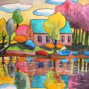 John Art Drawings - Lakeside Dream House by John  Williams
