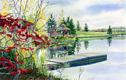 Garden Paintings  Acrylic Prints - Lakeside Gazebo by Hanne Lore Koehler
