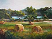 Bales Painting Originals - Lakeside Hay Field by Marti Bailey