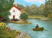 Rowboat Digital Art - Lakeside home by Jadranka C Grbic