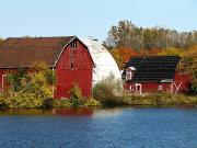 Michigan Fall Colors Posters - Lakeside Michigan Farm Poster by Scott Hovind