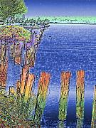 Lake Union Prints - Lakeside Pilings Print by Tim Allen