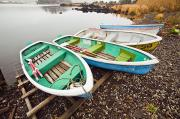 Waterfalls Rivers And Lakes - Lakeside Rowboats by Bill Brennan - Printscapes