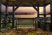 Park Benches Posters - Lakeside Serenity Poster by Debra and Dave Vanderlaan