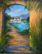 Villa Paintings - Lakeside Villa by Cathy Miller