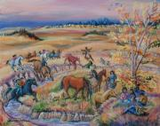 Horse Riders Painting Originals - Lakota Dream for the Children on the Reservations by Dawn Senior-Trask