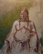 Americans Painting Framed Prints - Lakota Woman Framed Print by Ellen Dreibelbis