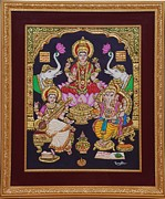 Gold Foil Paintings - Lakshmi Ganesh Saraswati by Vimala Jajoo