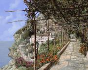 Romantic Framed Prints - Lalbergo dei cappuccini-Costiera Amalfitana Framed Print by Guido Borelli