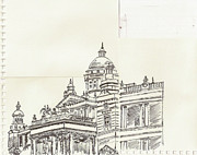 Indian Ink Drawings Prints - Lalith Mahal Print by Krishnamurthy S