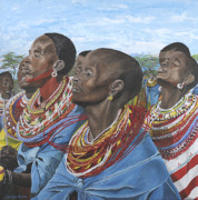 Maasai Painting Originals - Lamala Le Maa by Taunya Bruns