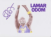 Los Angeles Lakers Drawings Posters - Lamar Odom Poster by Toni Jaso