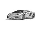 Car Drawings Prints - Lamborghini Aventador LP700-4 Print by Gabor Vida