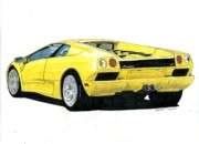 Poll Drawings - Lamborghini Diablo by Dan Poll