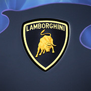 Sports Logo Framed Prints - Lamborghini Emblem Framed Print by Mike McGlothlen