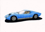 Veteran Drawings Prints - Lamborghini Miura Print by Dan Poll