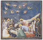 Lamention Paintings - Lamentation by Giotto Di Bondone
