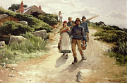 Genre Paintings - Lamorna Cove Cornwall by Walter Langley