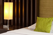 Hotel-room Prints - Lamp And Bed Print by Atiketta Sangasaeng